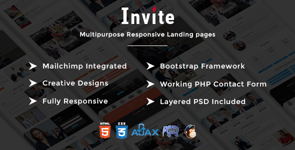 INVITE - Multipurpose Responsive HTML Landing Pages - Events Entertainment
