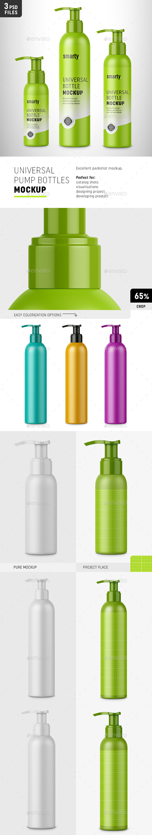 Plastic Bottles with Pump Mockups - Beauty Packaging