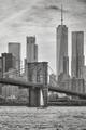 Brooklyn Bridge and Manhattan skyscrapers, New York.