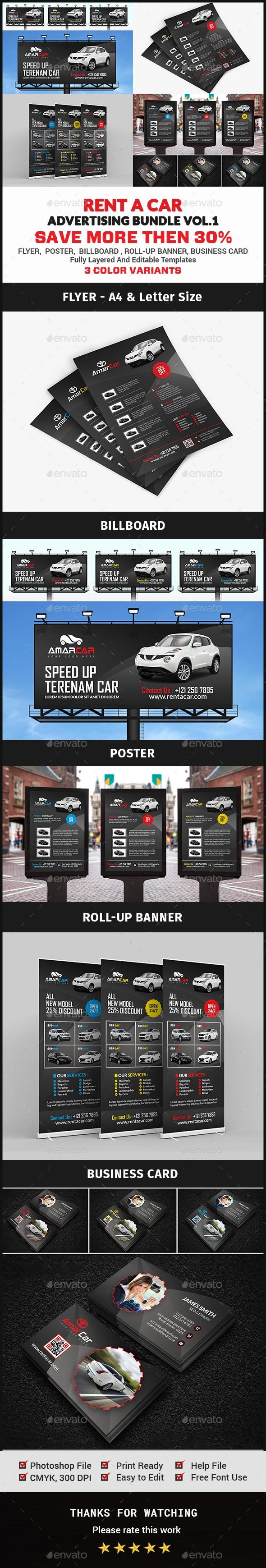 Rent a Car Advertising Bundle Vol.1 - Signage Print Templates