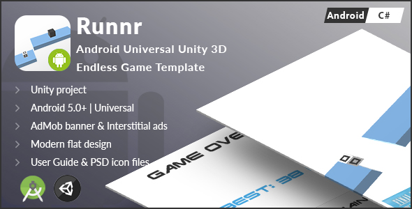 Runnr | Android Universal Unity 3D Endless Game Template (C#)