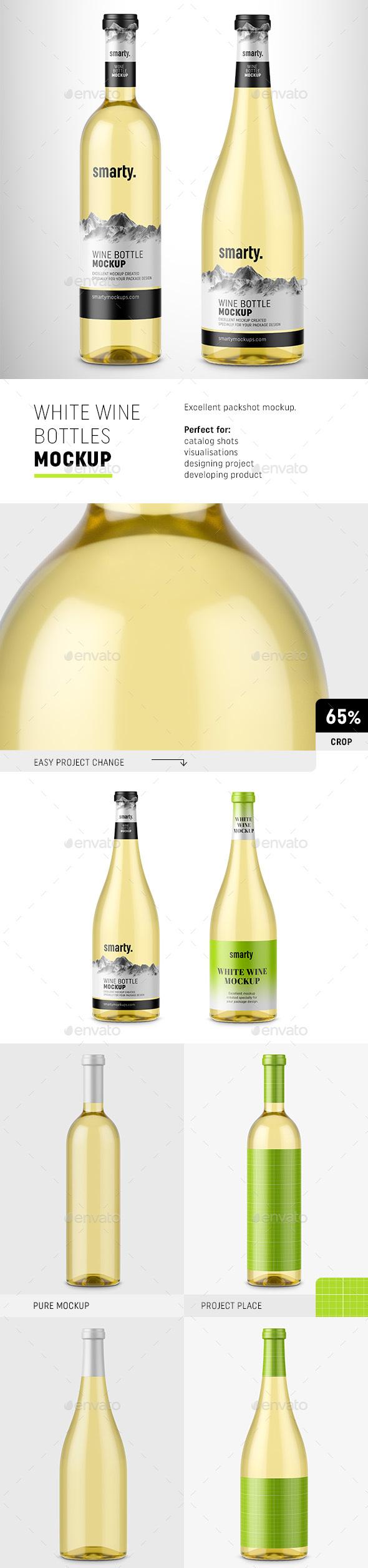 White Wine Bottles Mockup - Food and Drink Packaging