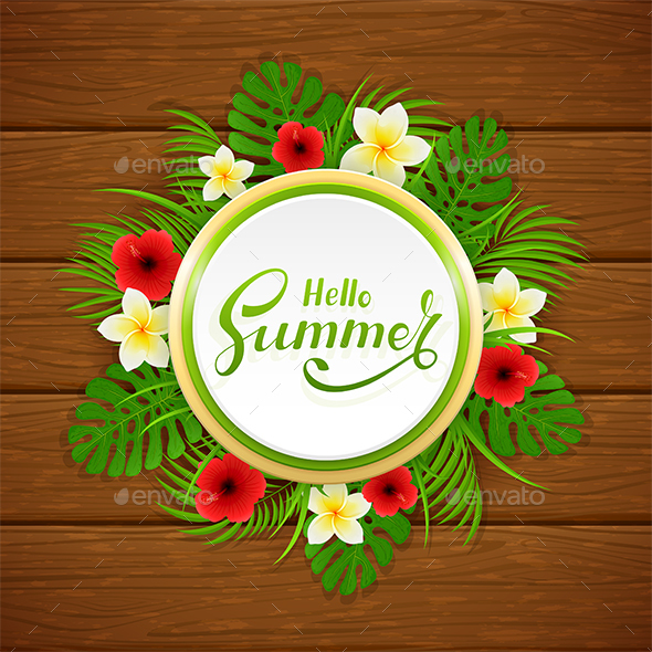 Card with Hello Summer and Plants - Flowers & Plants Nature