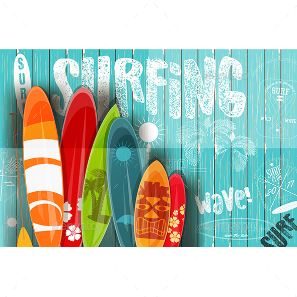 Surfing Retro Poster on Blue Wooden Background - Sports/Activity Conceptual