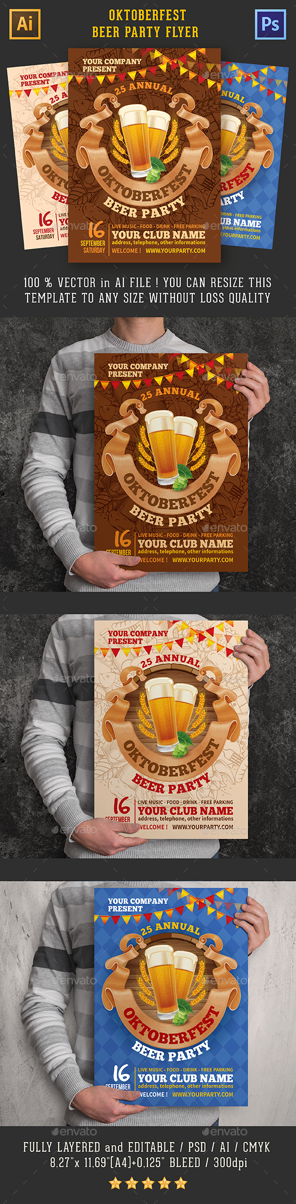 Oktoberfest Beer Party Flyer Templates - Clubs & Parties Events