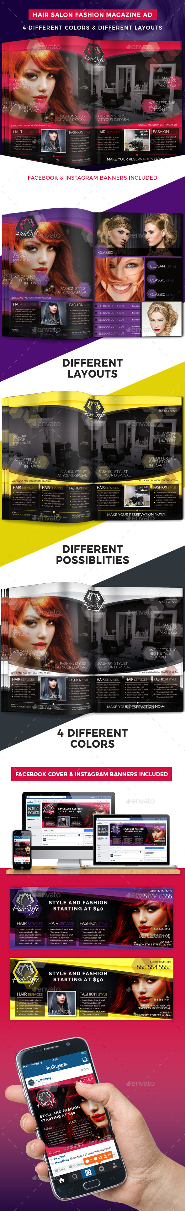 Hair Salon Fashion Style Magazine Ad - Magazines Print Templates
