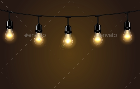 Lights Isolated Realistic Design Elements - Backgrounds Decorative
