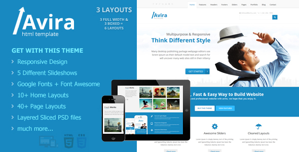 Download Avira - Responsive Multipurpose HTML5 Website Template