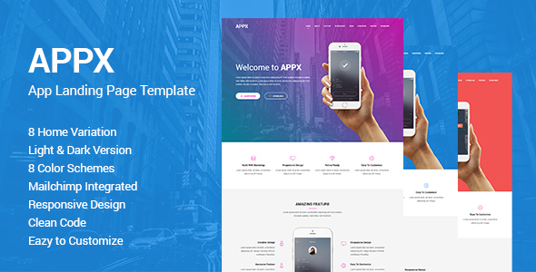 Appx - Responsive App Landing Page Template - Apps Technology