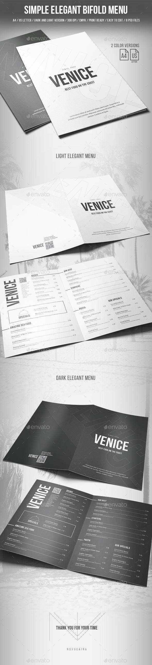 Simple Elegant Bifold Menu - A4 and US Letter - 2 Color Version - Food Menus Print Templates