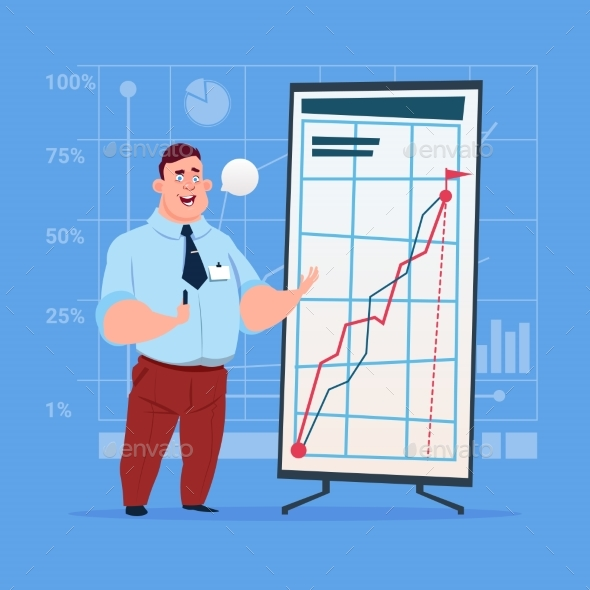 Business Man With Flip Chart Seminar Training - Concepts Business