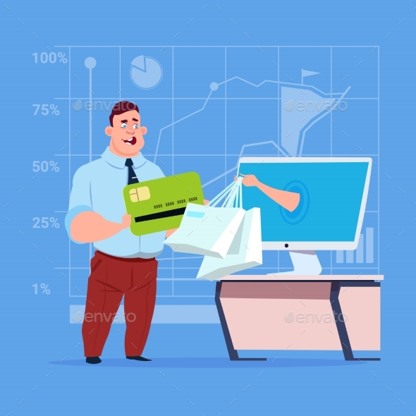 GraphicRiver Business Man Uses Computer Online Shopping Bag 20265312