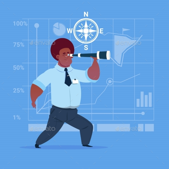 Business Man With Binoculars - Concepts Business