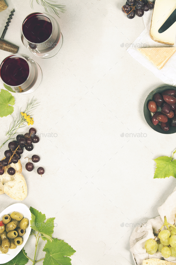 Wine and snack set. Grey marble background, top view, copy space - Stock Photo - Images