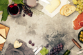 Wine and snack set. Grey marble background, top view, copy space - PhotoDune Item for Sale