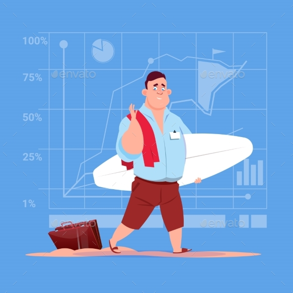 Business Man Hold Surf Board Waiting For Vacation - Travel Conceptual