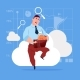 Business Man Sitting on Cloud Searching Data
