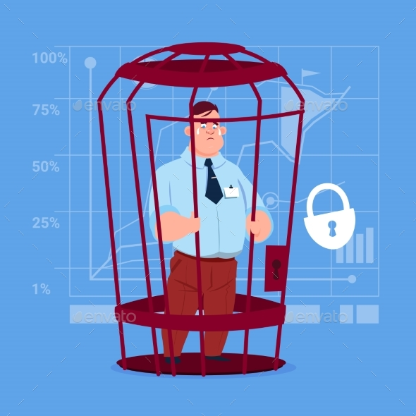 Business Man in Cage Prisoner Financial Problem - People Characters