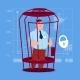 Business Man in Cage Prisoner Financial Problem