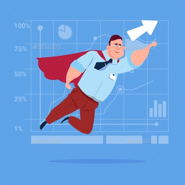 Businessman Super Hero Fly Up Financial Graph - Concepts Business