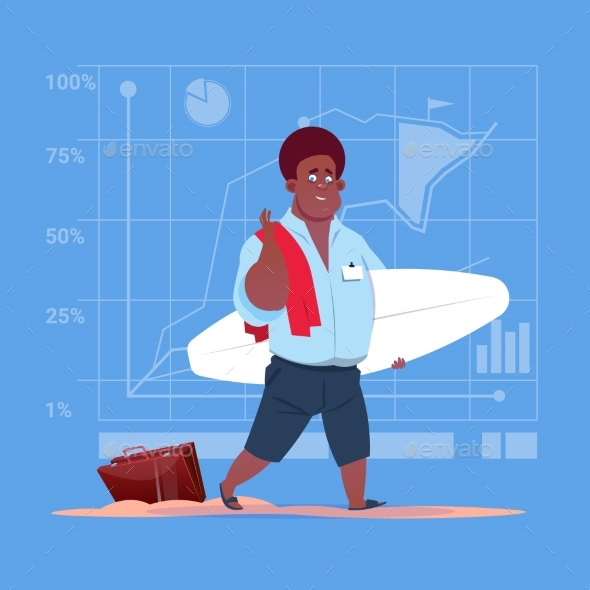 Business Man Holds Surf Board - People Characters