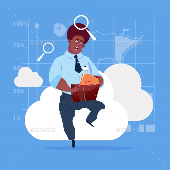 Business Man Sitting On Cloud - Computers Technology