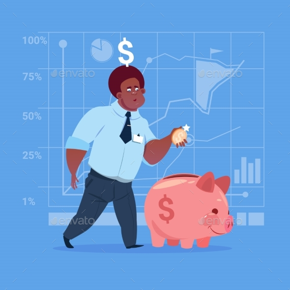 Business Man Puts Coin in Piggy Bank - Concepts Business