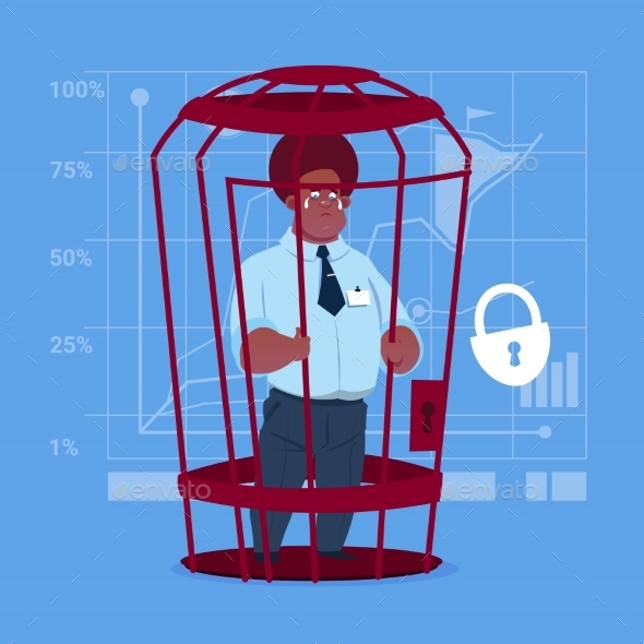 Business Man in Cage Prisoner - People Characters