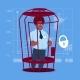 Business Man in Cage Prisoner