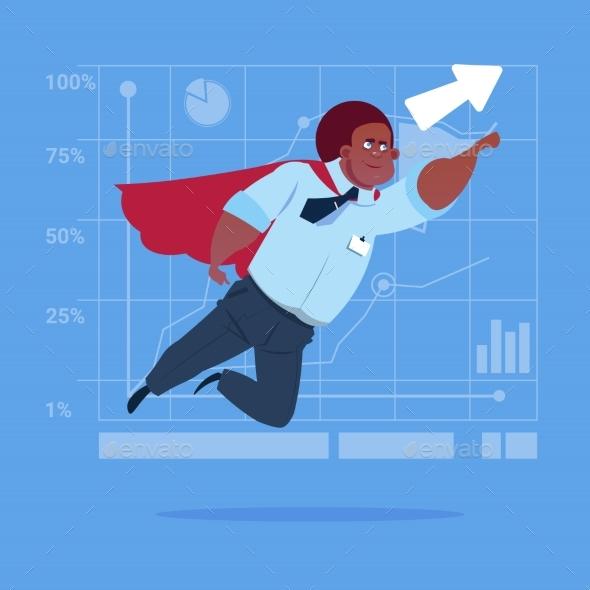 Businessman Super Hero Flying Up - Concepts Business