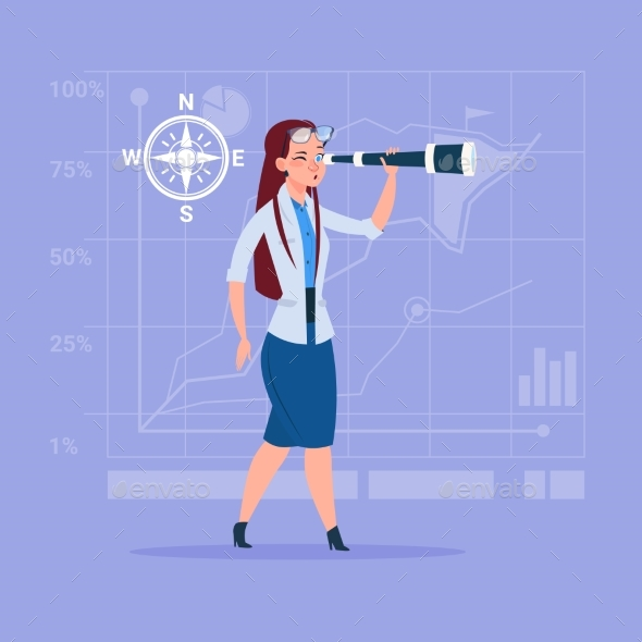 Business Woman with Binoculars Successful Future - Concepts Business