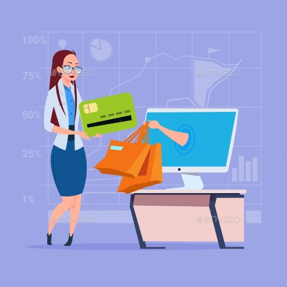 Business Woman Uses Computer Online Shopping Bag - Computers Technology