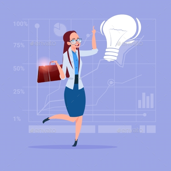 Business Woman New Creative Idea Concept - Miscellaneous Vectors