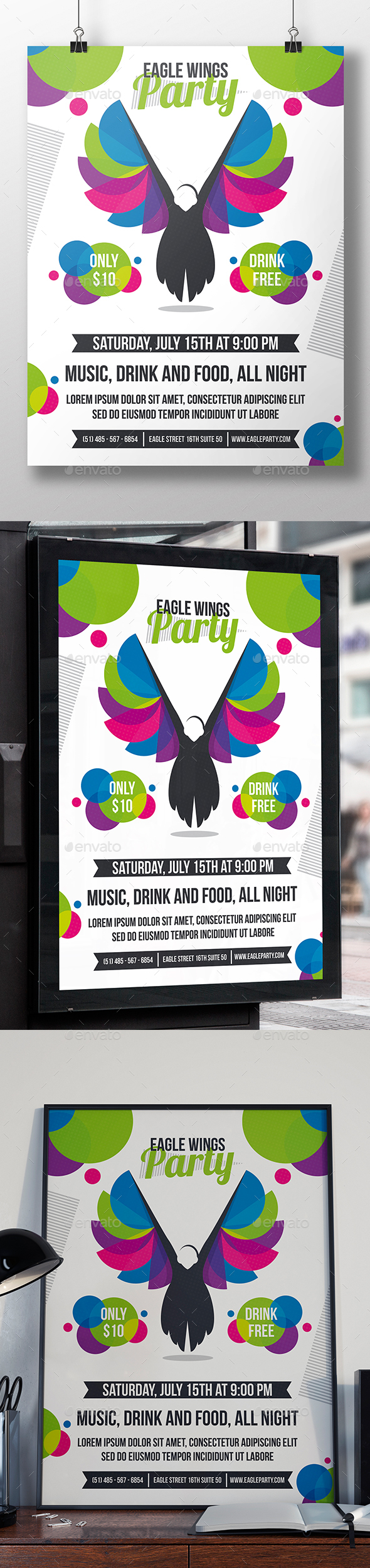 Eagle Wings Flyer Template - Clubs & Parties Events