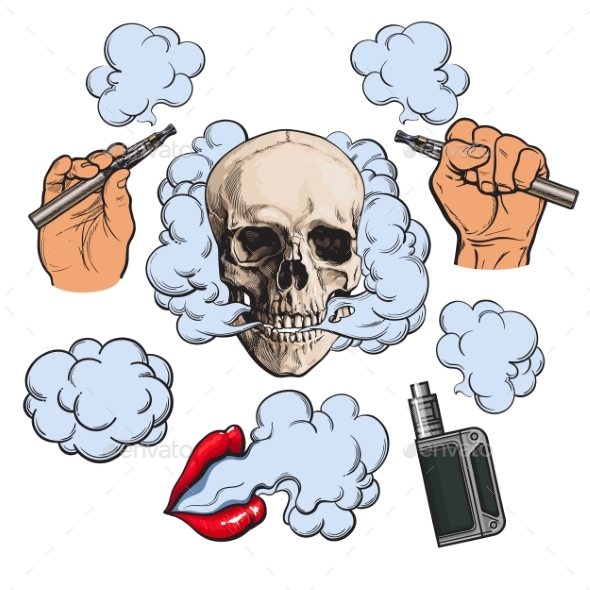 Vaping Related Elements - Miscellaneous Vectors