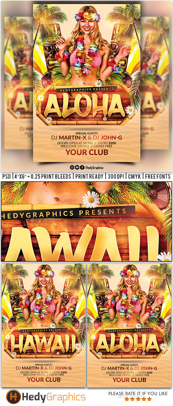 Aloha Flyer - Clubs & Parties Events