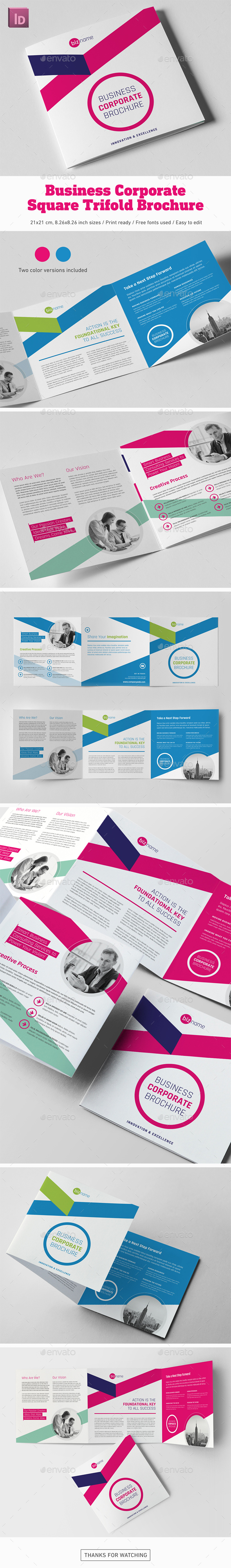 Business Corporate Square Trifold Brochure - Corporate Brochures