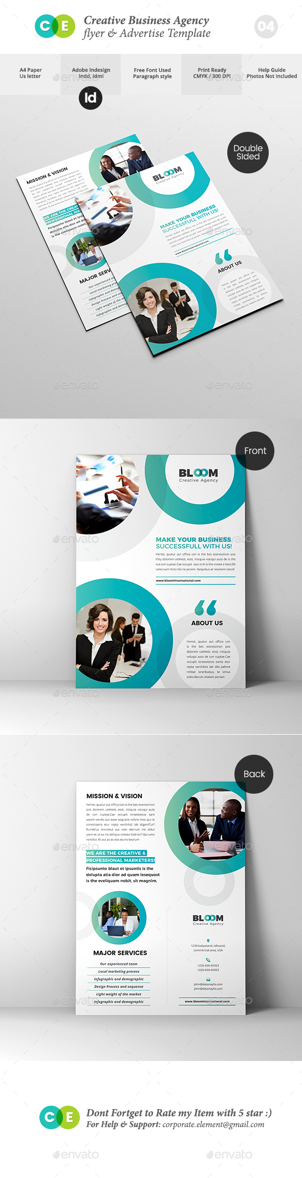 Creative Business Agency Double Sided Flyer V04 - Flyers Print Templates