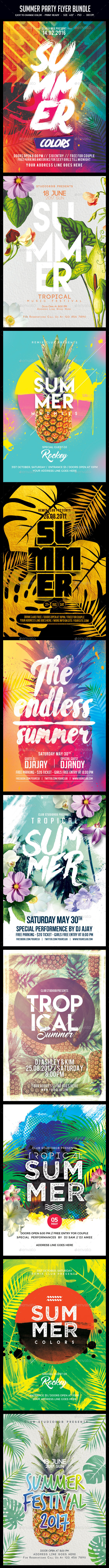Bundle of 10 Summer Party Flyers - Clubs & Parties Events