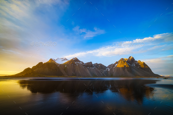 Vestrahorn mountain at sunset, Stokksnes, Iceland - Stock Photo - Images