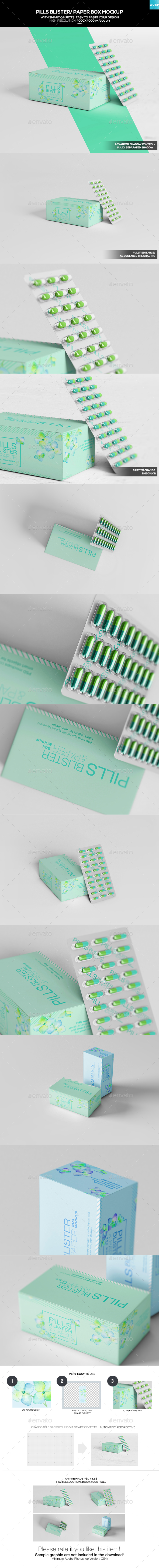 Pills Blister/ Paper Box Mockup - Miscellaneous Packaging
