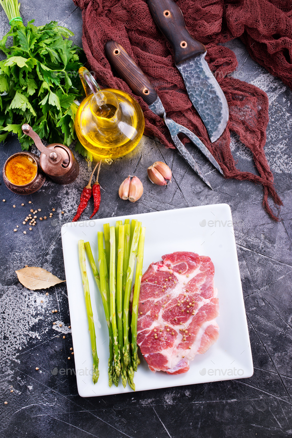 meat with asparagus - Stock Photo - Images