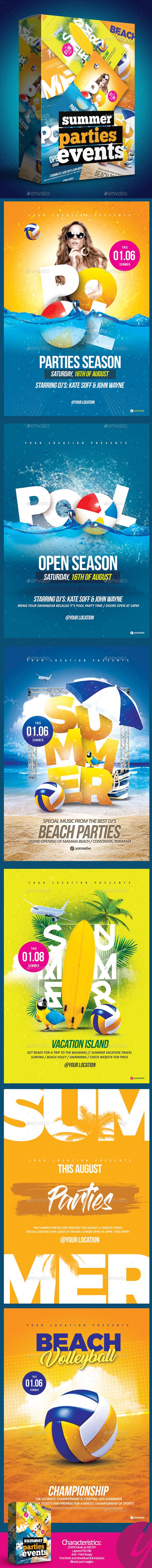 Insane Summer Parties Bundle - Events Flyers