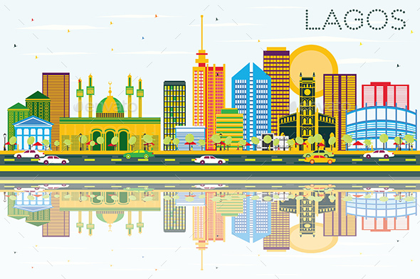 Lagos Skyline with Color Buildings, Blue Sky and Reflections. - Buildings Objects