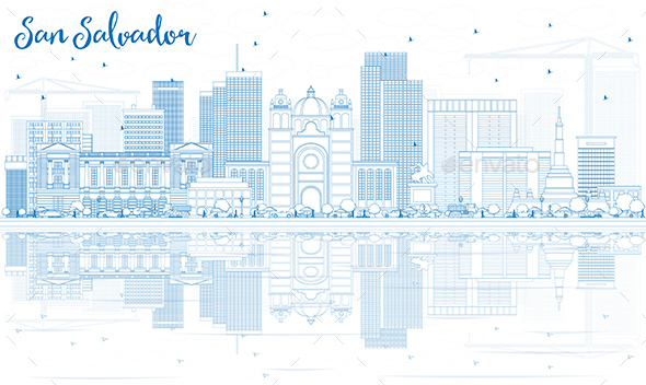 Outline San Salvador Skyline with Blue Buildings and Reflections. - Buildings Objects