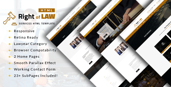 Right of Law : Attorney, Lawyer and Law Agency HTML Template - Business Corporate