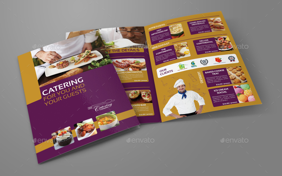 Catering BiFold Brochure Template By OWPictures GraphicRiver - Double fold brochure template