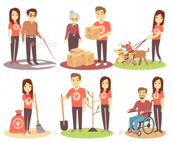 Volunteering and Supporting People Vector Flat - People Characters