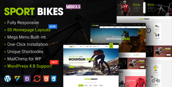 Sportbikes - Sports and Fitness Store WooCommerce WordPress Theme - WooCommerce eCommerce