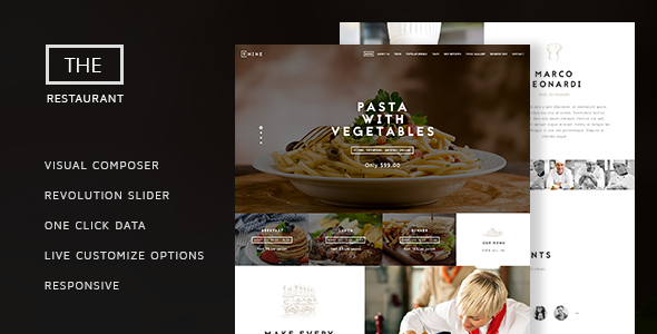 The Restaurant - Restauranteur and Catering One Page Theme - Restaurants  Cafes Entertainment